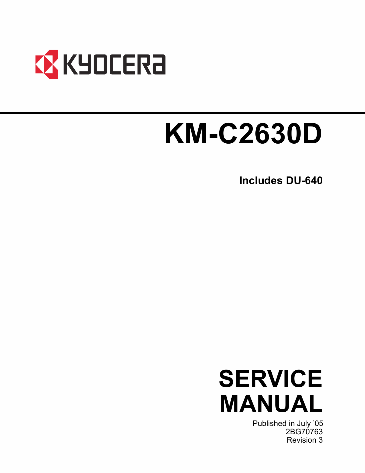 KYOCERA ColorCopier KM-C2630D Parts and Service Manual-1
